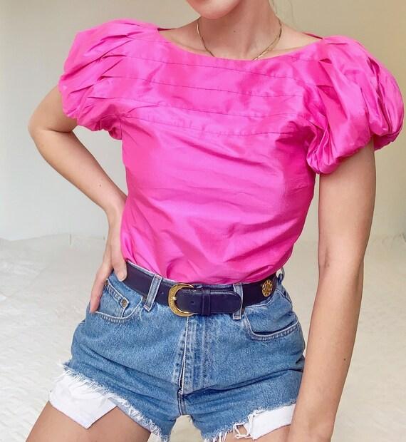 Ralph Lauren 100% Silk Puff Sleeve Pink Blouse