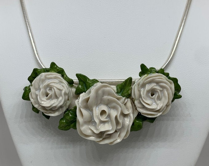 Genevieve Three Blooms Bouquet Necklace