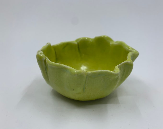 NEW! Small Lime Green Trinket Bowl with Pinched Rim
