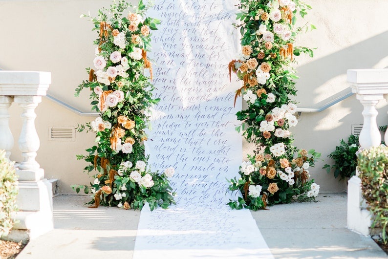 Custom Modern Calligraphy Backdrop & Aisle Runner  Wedding image 0