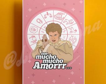 Con Mucho Mucho Amor Walter Mercado Astrology Wheel Digital Illustration Print - LaHu3vona.com