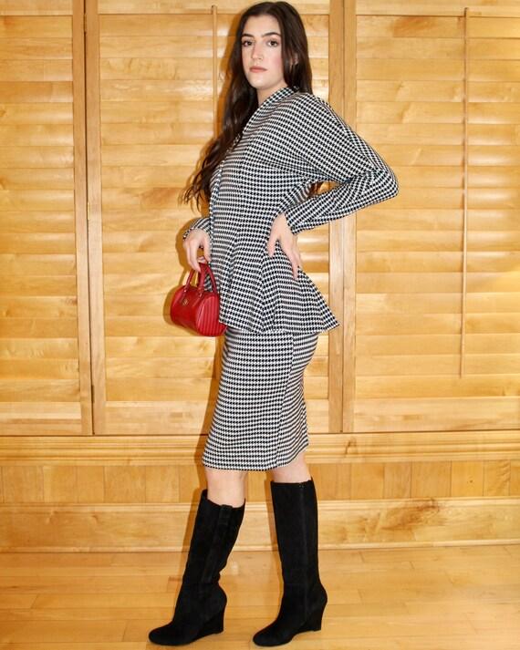Vintage Houndstooth Skirt Set