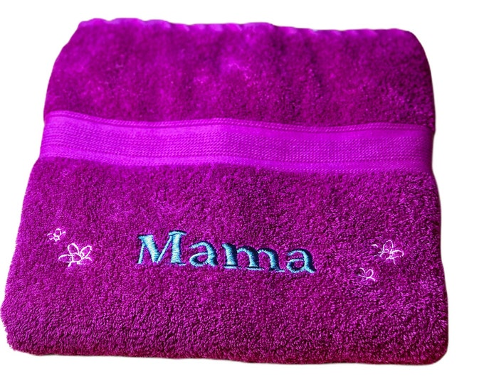 Shower towel 70 x 140 cm embroidered with your desired name 4 flowers, different colors are possible