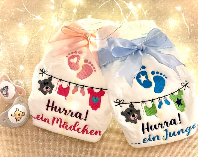 """Embroidered diaper, gift for birth """"Hurra! ... a girl/boy, Pampers"""