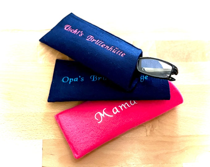 Eyeglass case, individually embroidered