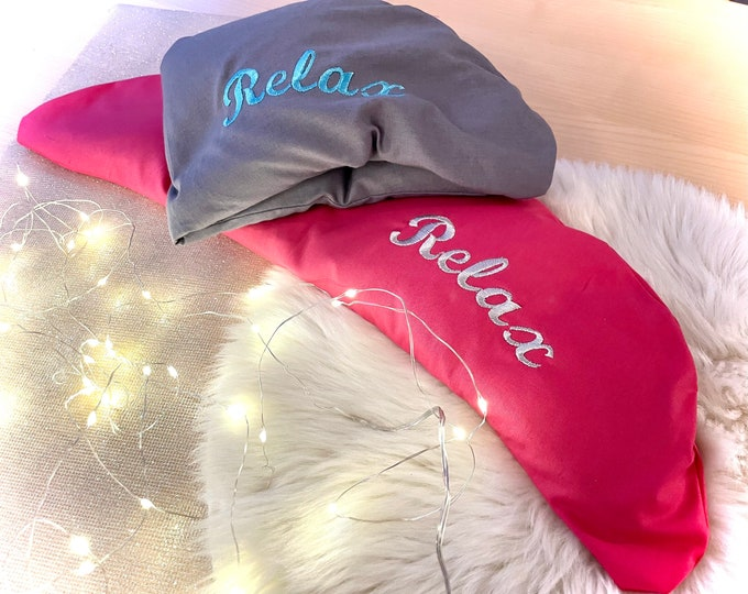 Neck heat pillow for microwave or oven embroidered with name, filled with rapeseed