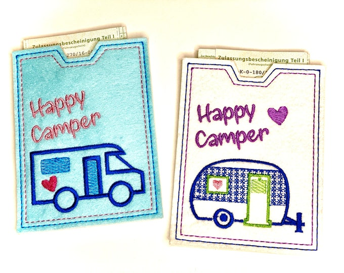Funny car cover made of felt embroidered, gift to the mobile home or caravan