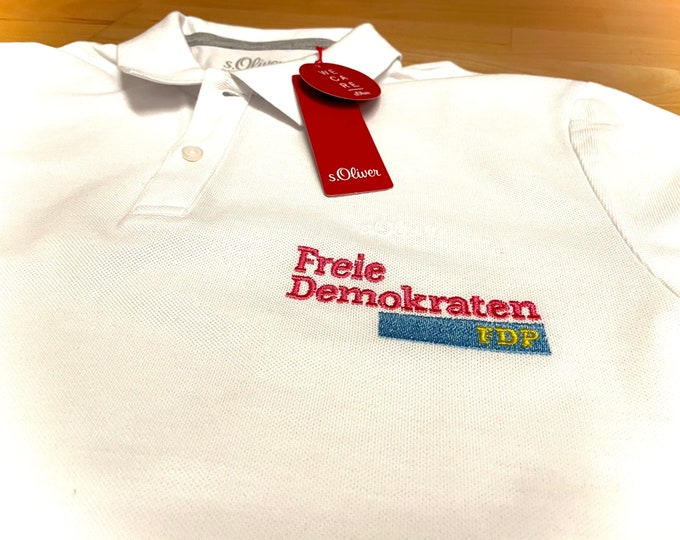 Embroidered polo shirt for men, S.Oliver, with FDP logo