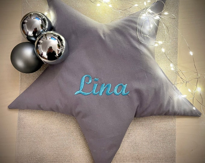 Rapeseed heat pillow in star shape 35 x 35 cm, pink or grey, embroidered with desired name