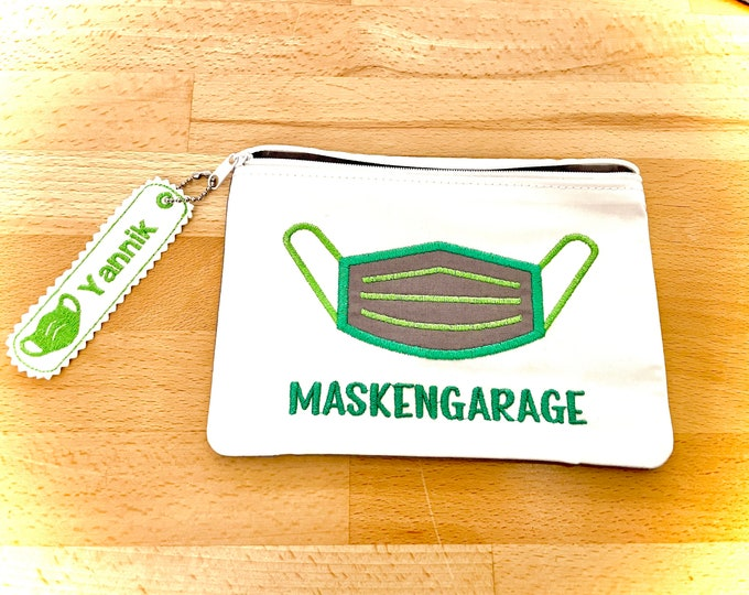 Mask garage, mask bag, pouch, bags for masks with and without name