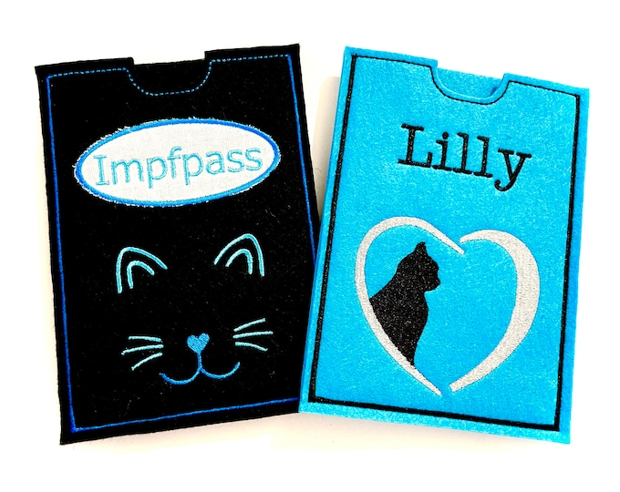 Documents, ID, cat passport, vaccination passport cover for cats made of felt, embroidered, personalized with name