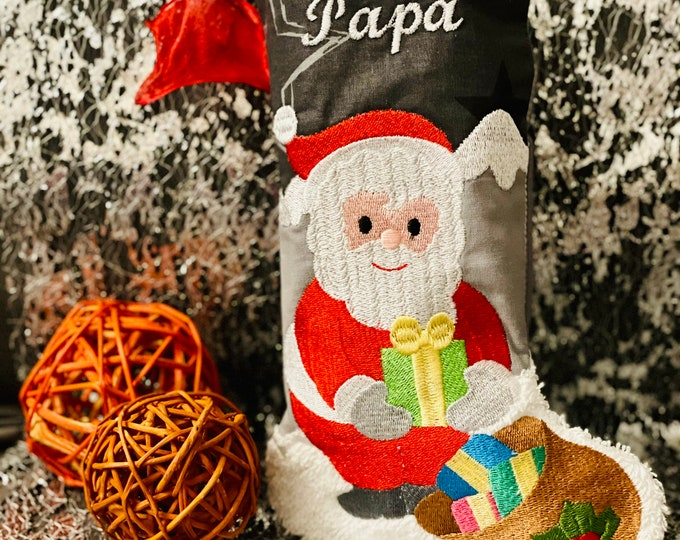 Santa Claus boots, gift bag, embroidered with name, various designs possible