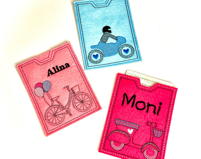 Funny car cover made of felt embroidered, gift for the new two-wheeler or driver's license