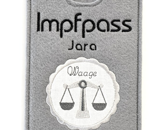Vaccination passport cover made of felt, embroidered, personalized name, zodiac sign