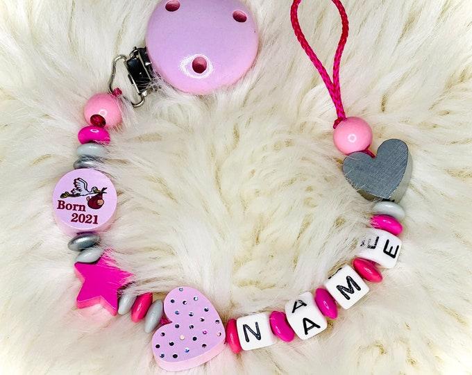 Schnullerkette mit Name, born 2021, rosa oder grau