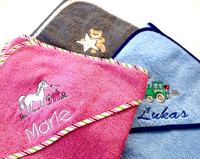 Hooded towel 100 x 100 cm, embroidered with motif and name. Very nice and personal gift for children