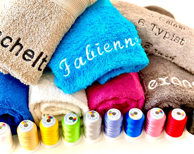 Towel, embroidered with name, shower towel, guest towel, sauna towel, various colors