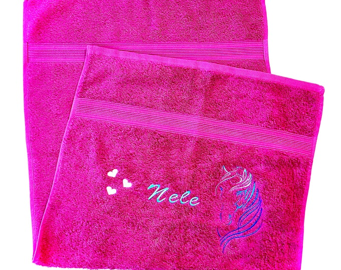 Towel 50 x 100 cm embroidered with a horse's head, hearts and your desired name, different colors are possible