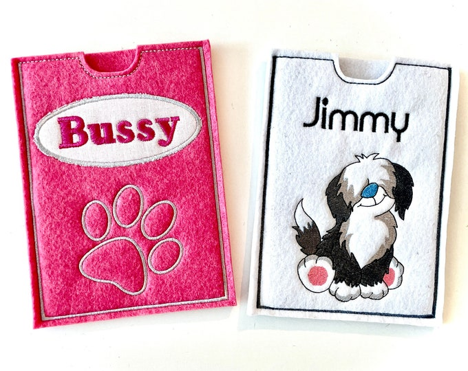 Documents, ID, dog passport, vaccination certificate cover for dogs made of felt, embroidered, personalized with name