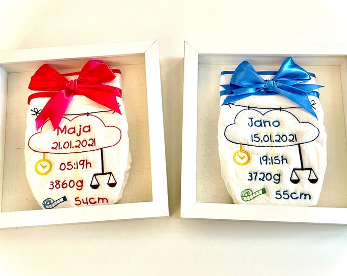 Embroidered diaper with name and dates of birth in picture frame, gift for birth, 20 x 20 cm