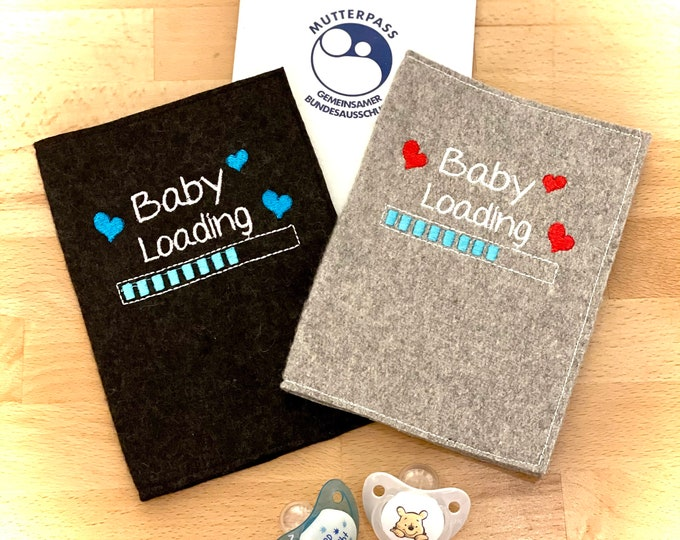 Mother passport sleeve, baby loading, felt embroidered
