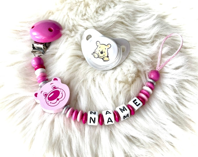Pacifier necklace with name and bear, different colors