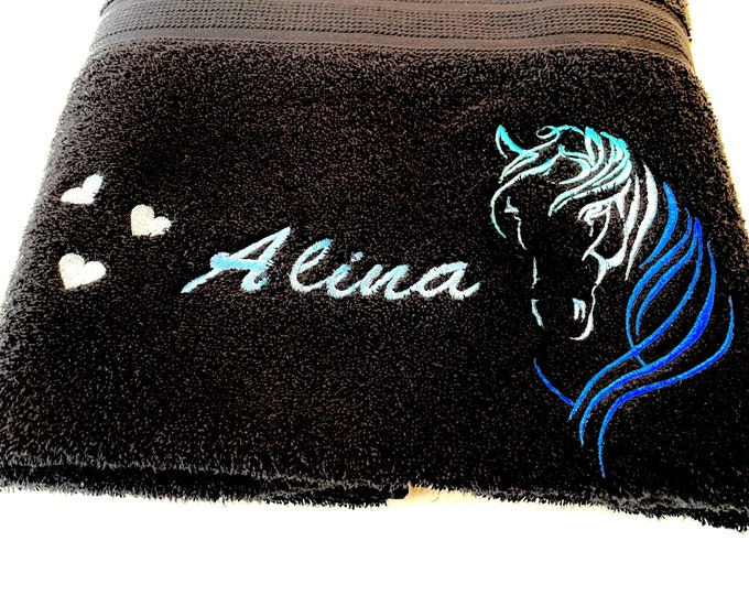 Shower towel 70 x 140 cm embroidered with a horse's head, heart and your desired name, different colors are possible