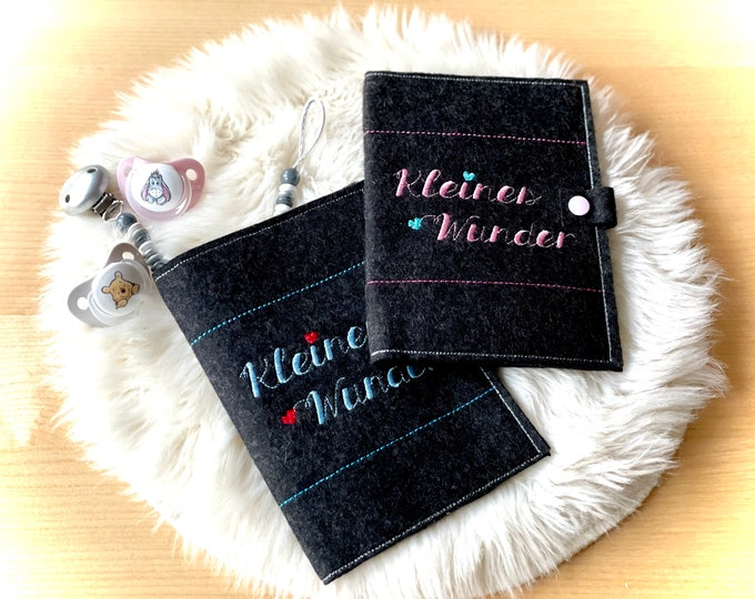"""Mother passport sleeve """"Little Miracle"""", felt, embroidered, with inner compartments and push button"""