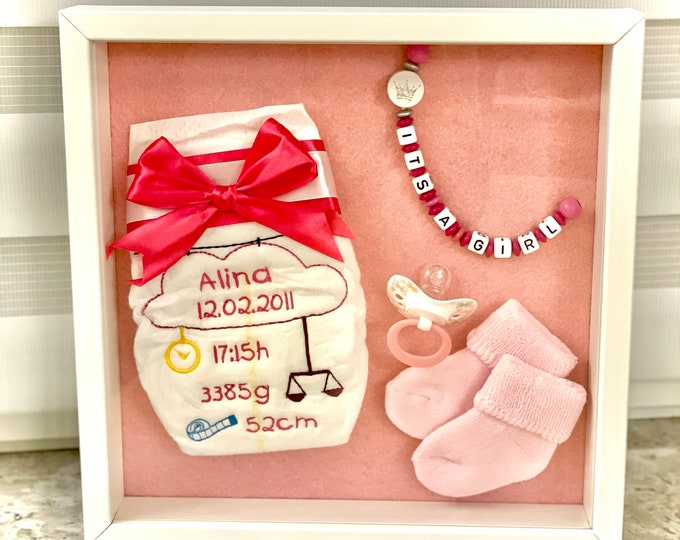 Embroidered diaper with name and dates of birth in picture frame, gift for birth