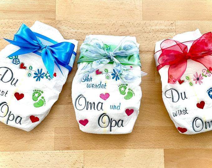 "Embroidered diaper, gift for grandma and/or grandpa ""You will be grandma and grandpa"""