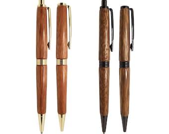 Apricot timber in a gunmetal grey Streamline twist pen