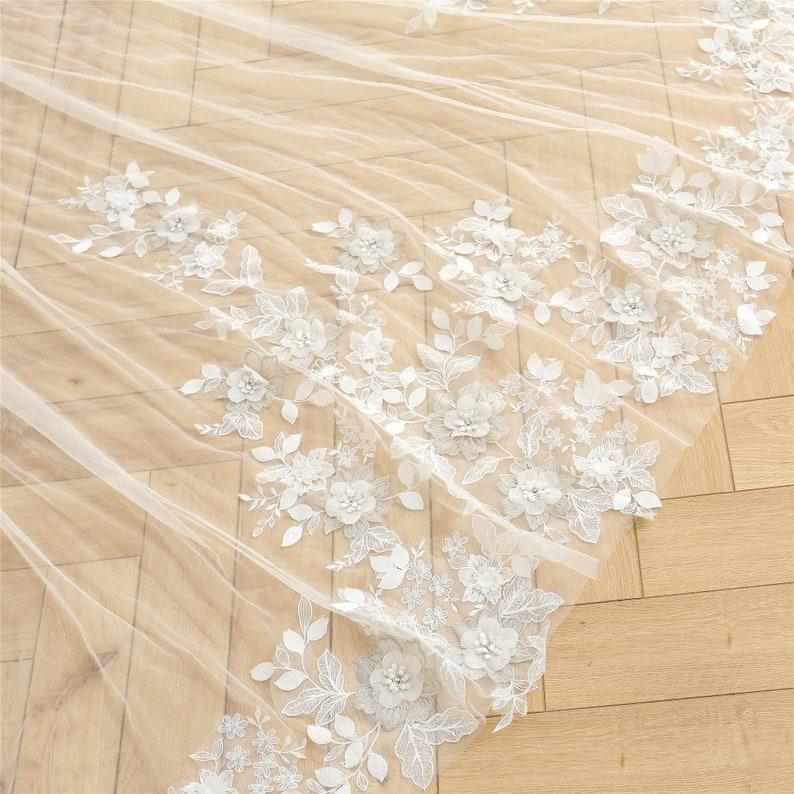 Cathedral Wedding Veil with Flower Leaf Lace Chapel Bridal Veil Floral Lace Veil Elegant 1 tier Veil with Beaded Lace Floral Lace Trim Veil