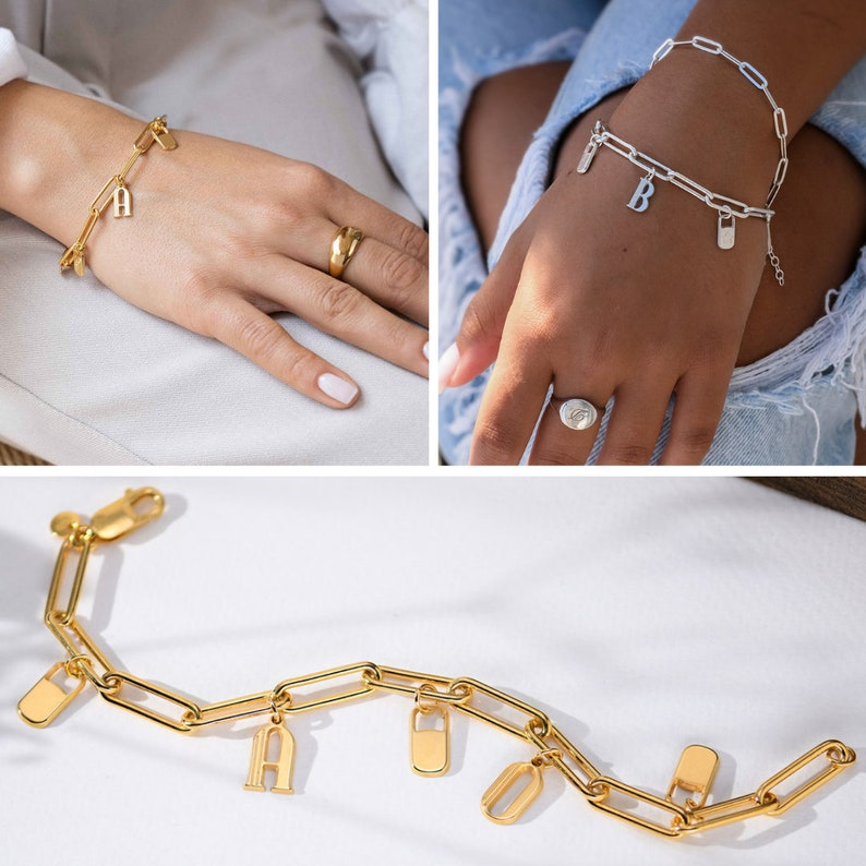 Link Chain Charm Bracelet Rose Gold \u2022 The Charmer Bracelet\u2022 Stacking Personalized Custom Pendant Bracelets Mothers Day Jewelry Gifts for Her
