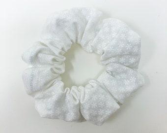 Snowflake Scrunchie - White on White - Snowflake Hair Tie - Scrunchy - Hair Accessory - Winter, Holiday, Christmas | La Scrunchie US