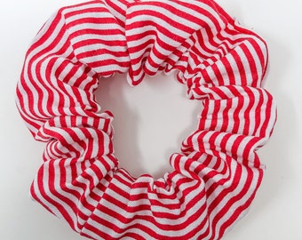 Candy Cane Stripes - Red and White Striped Scrunchie - Hair Scrunchy Accessory - Winter, Holiday, Christmas  | La Scrunchie US