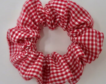 Red Gingham Print Scrunchie - small gingham - hair scrunchie  scrunchy Vday valentines day galentines day - gifts for her | La Scrunchie US