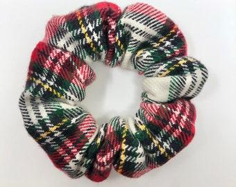 Plaid Winter Scrunchie - Red, Green, Yellow, White Plaid - Christmas, Holiday plaid - Hair Scrunchie / Scrunchy - Hair tie | La Scrunchie US