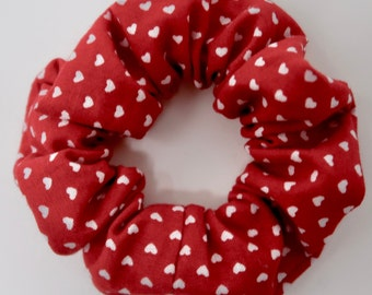 Red and White Heart Scrunchie - Valentines Day Scrunchie - V-day - Galentines day - gifts for her hair scrunchie scrunchy | La Scrunchie US