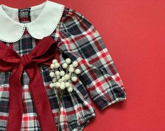 Tartan Baby Romper Balloon Baby Romper Baby Girl 1st birthday Bodysuit Dress Baby girl dress Scottish Check Baby Onesie