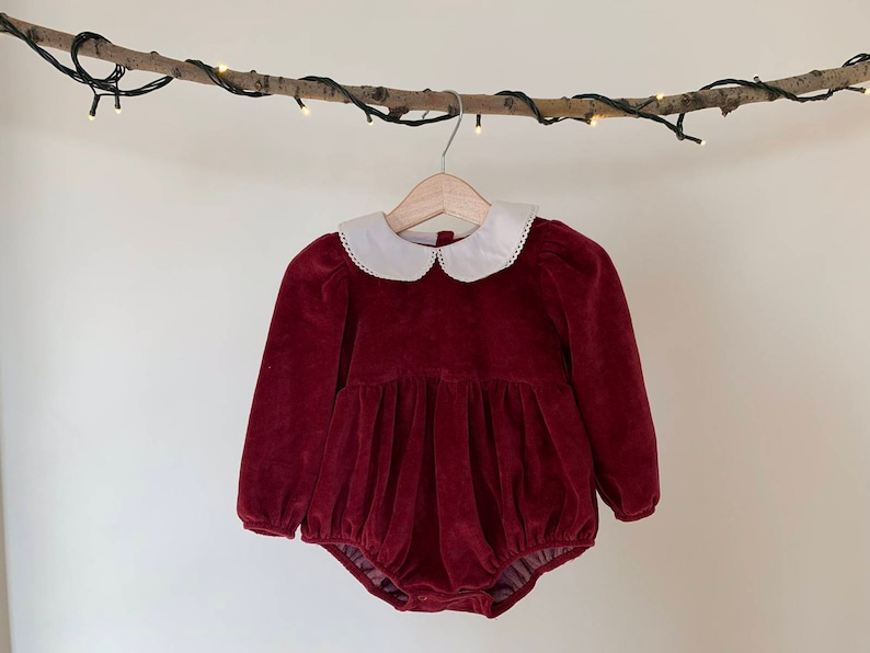 Burgundy Baby Girl Onesie Dress Christmas dress Baby Girl Baby Girl Dress Velvet Baby Bodysuit Dress Special Occasion Onesie