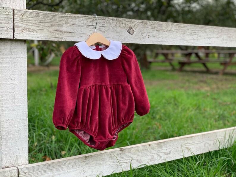 Baby Girl Onesie Balloon Romper Baby Girl Bodysuit Dress Burgundy Baby Girl Bodysuit Dress Velvet Baby Dress Christmas dress Baby Girl