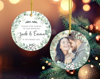 Personalised Thank You Wedding Favors Christmas Ornament, Custom Couple Photo Wedding Bulk Orders Gift For Guests, Wedding Christmas Gift