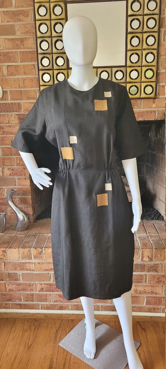 Linen dress - vintage dress - vintage 1960's dress