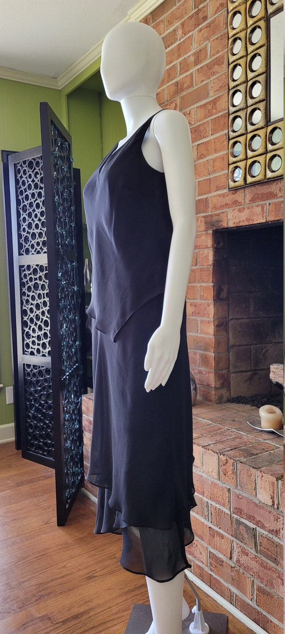 Evan Picone Black Chiffon Ruffle  Dress - image 4