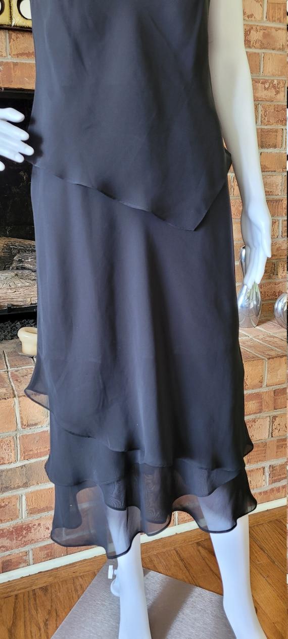 Evan Picone Black Chiffon Ruffle  Dress - image 5