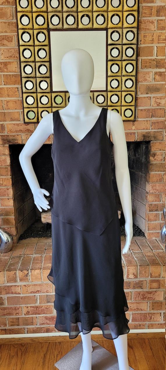 Evan Picone Black Chiffon Ruffle  Dress - image 2