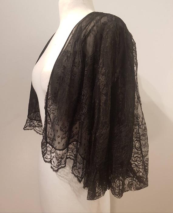 Amazing 1920s /1930s  black Lace Silk Georgette pu