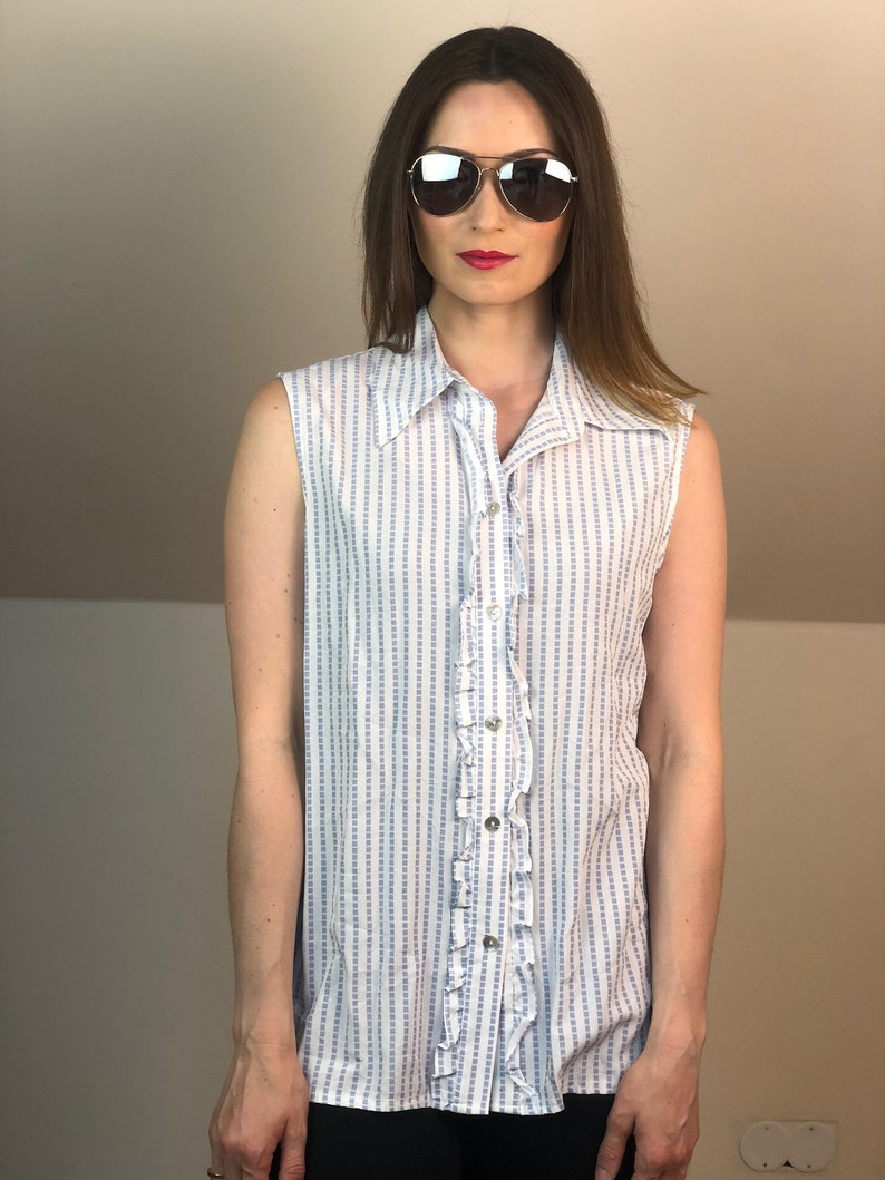 Women Size L Italy palermo beach 90s tank Rose Casual shirt buttons 90s