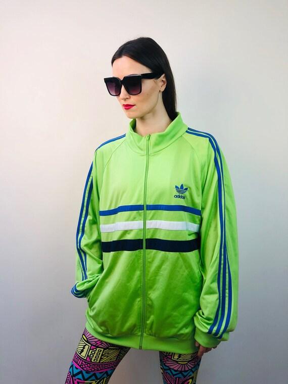 Vintage 90s adidas Germany green blue jacket runni