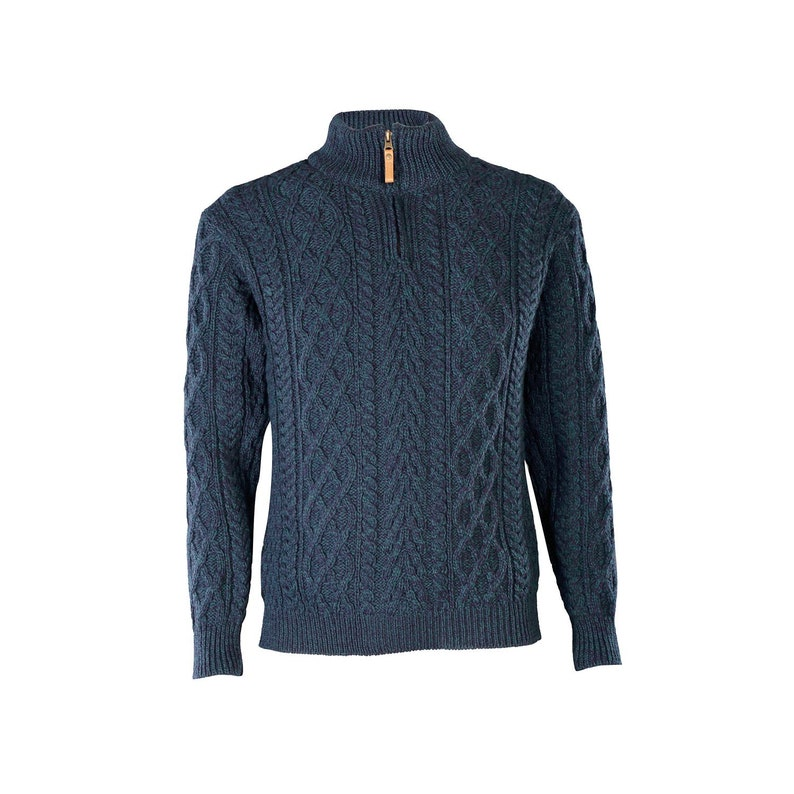 Chunky Knit Sweater Aran Jumper Blue Half Zip Neck Aran Sweater Irish Sweater Men/'s Aran Quarter Zip Sweater Fisherman Sweater